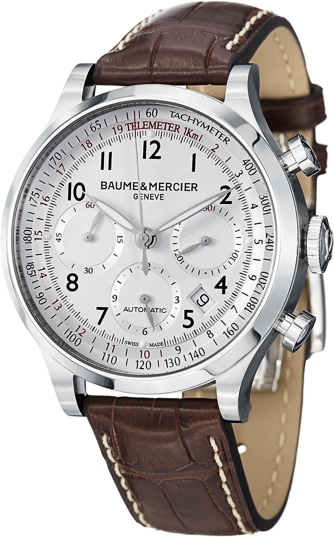 Baume and Mercier Capeland White Dial Chronograph Mens Watch 10082