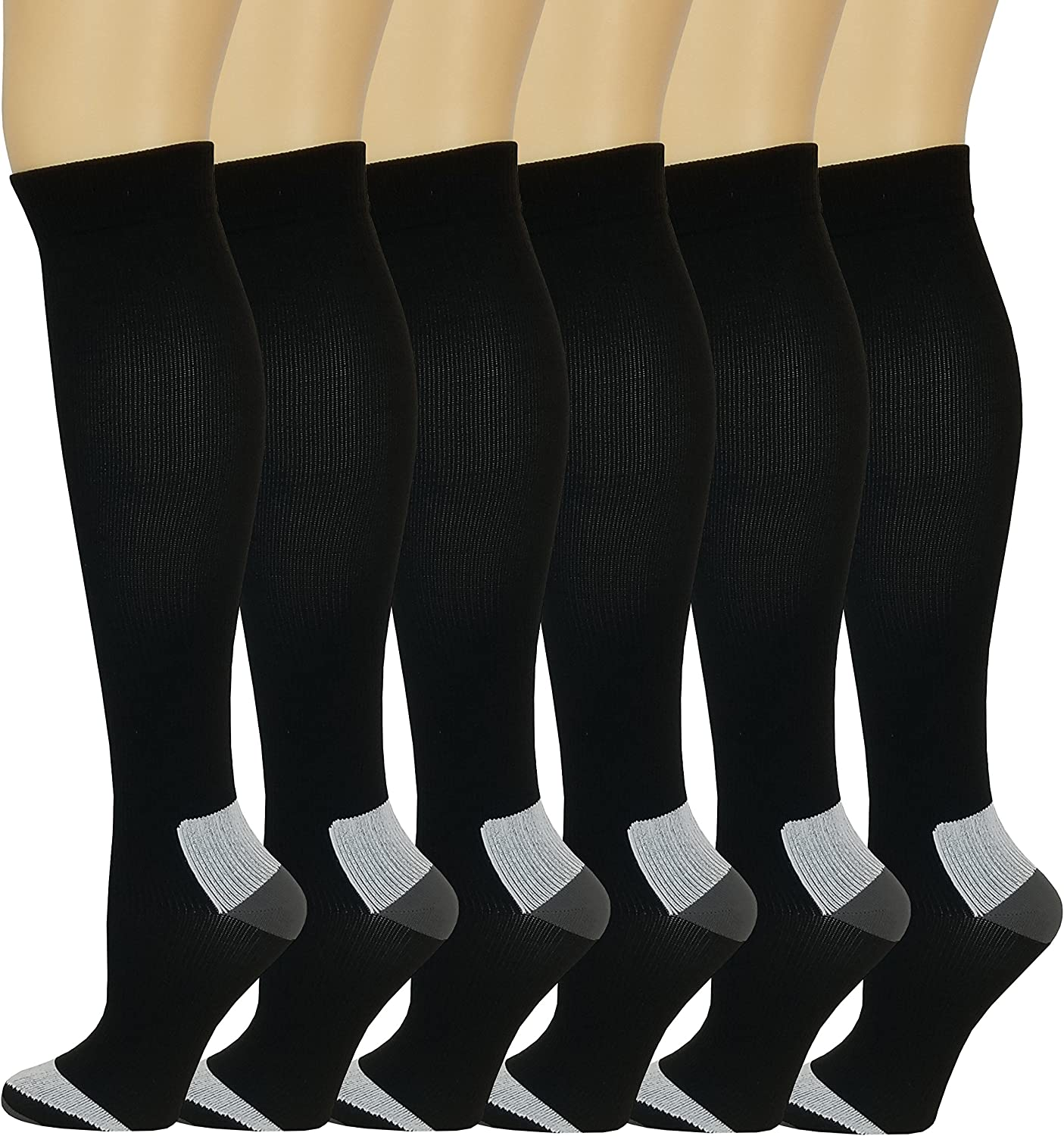 Different Touch 6 Pairs Pack Women Travelers Anti-Fatigue Graduated Compression Knee High Socks 9-11