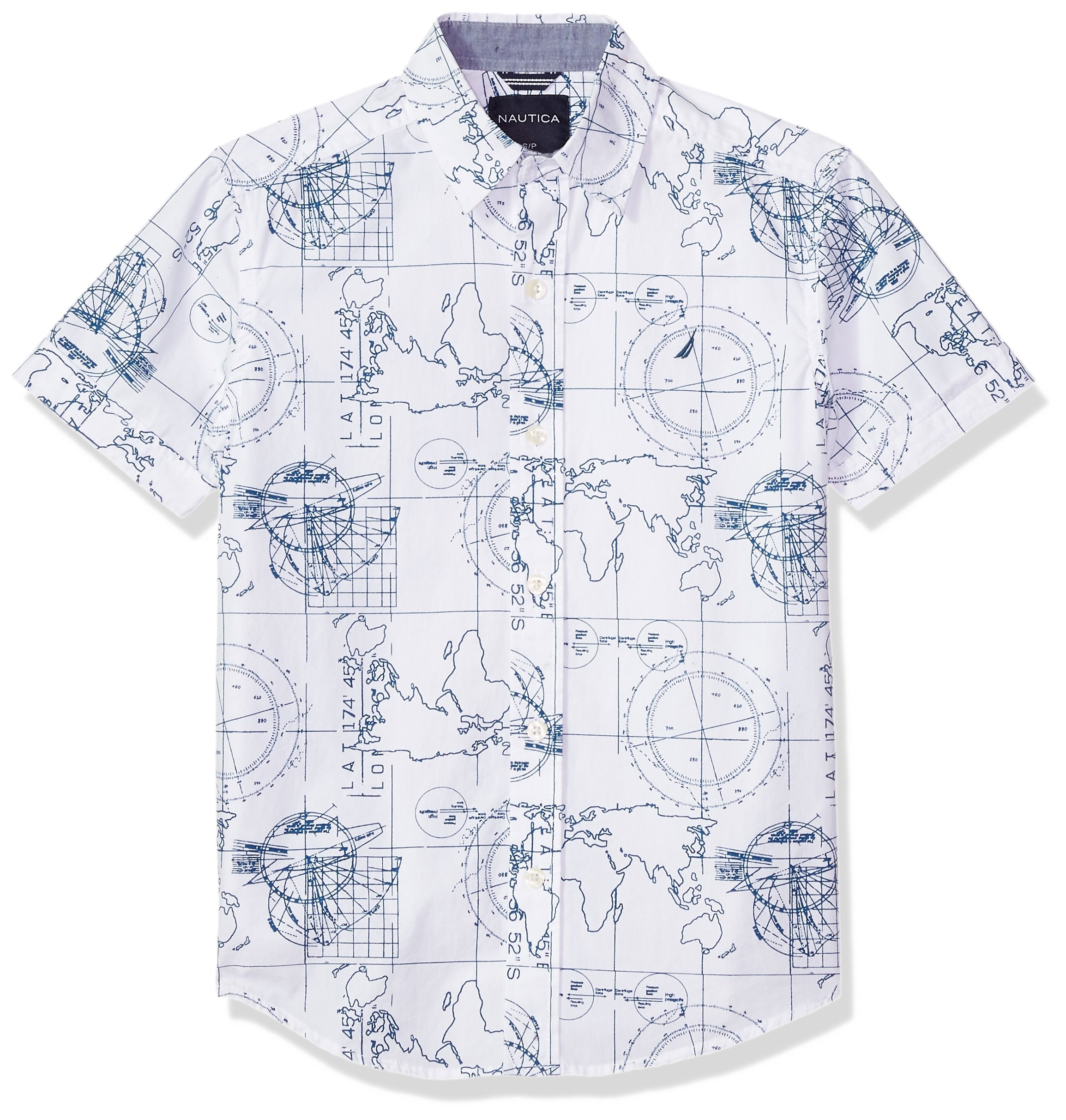 Nautica Boys' Short Sleeve Printed Woven Shirt, Brookdale White, Small (8)