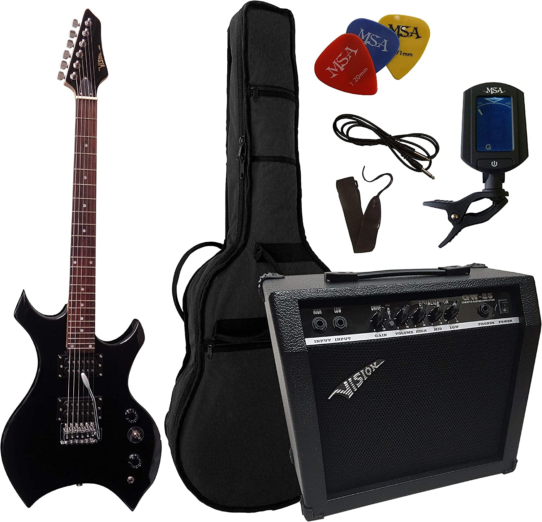 E-Gitarre Set Combo Verstärker Amp Stimmgerät Ständer Gurt Band Kabel Set Red