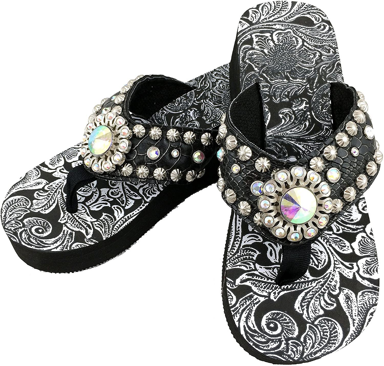 Western Peak Womens Rhinestone Concho White Lace Studs PU Leather Flip Flop Sandal