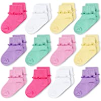 CozyWay Baby Girls Socks 6/12 Pack Ruffle Ripple Edge Turn Cuff Ankle Socks Toddlers Infants 0-12 months 1t-5t