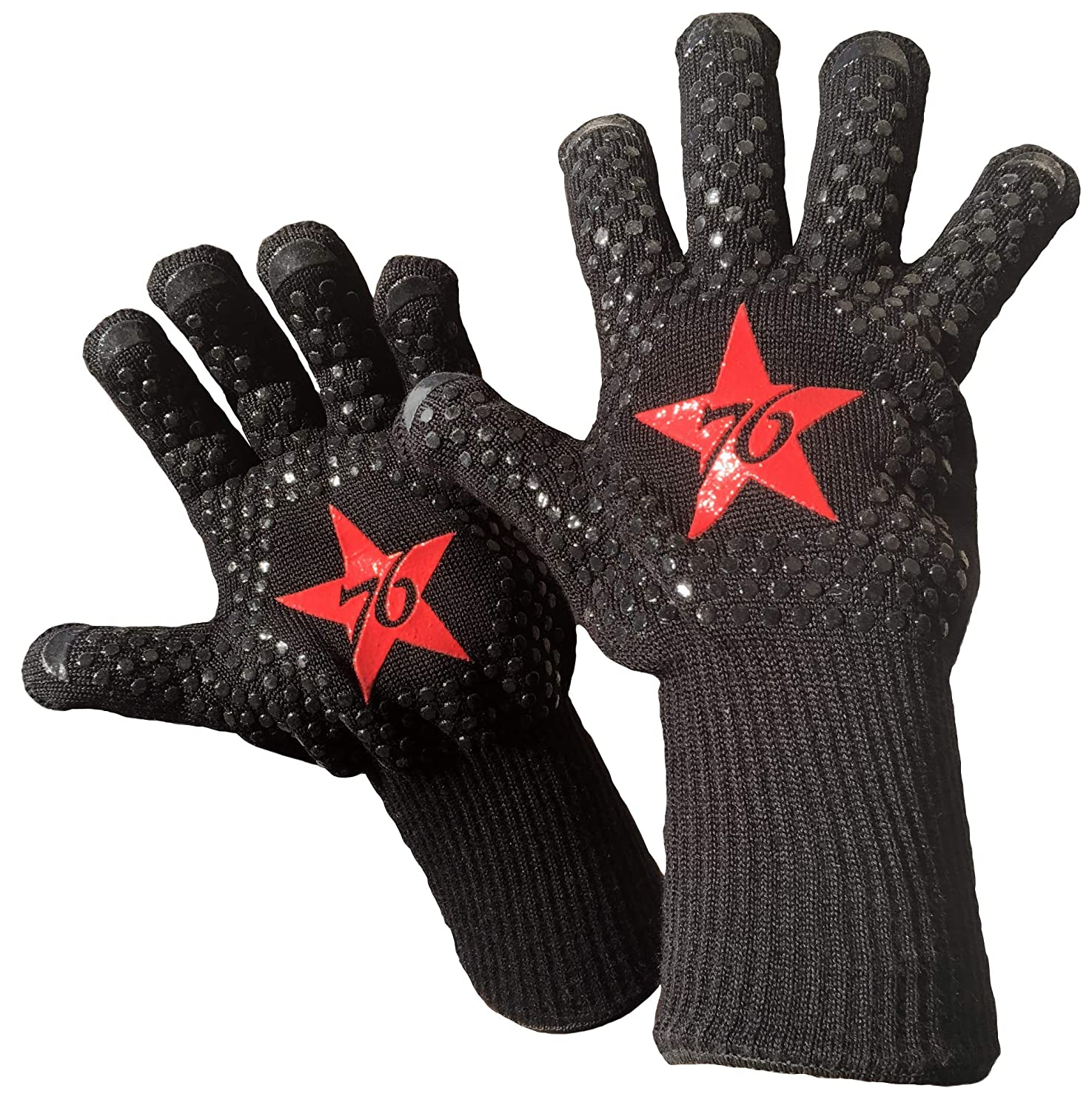 Patriot '76 Extreme Heat Resistant BBQ Gloves EN407-932°F Certified | High Dexterity Grill Gloves | Premium Oven Gloves & Grilling Gloves | Green Egg Accessories and Pizza Oven Accessories