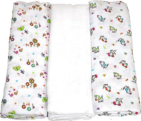 Babymajawelt® 13569 Pañales de tela XXL Funny - 120 x 120-3-pack, blanco-estampado: Amazon.es: Bebé