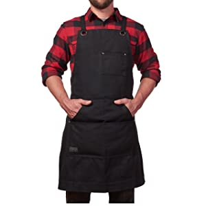 Hudson Durable Goods - Heavy Duty Waxed Canvas Work Apron with Tool Pockets (Black), Cross-Back Straps & Adjustable M to XXL