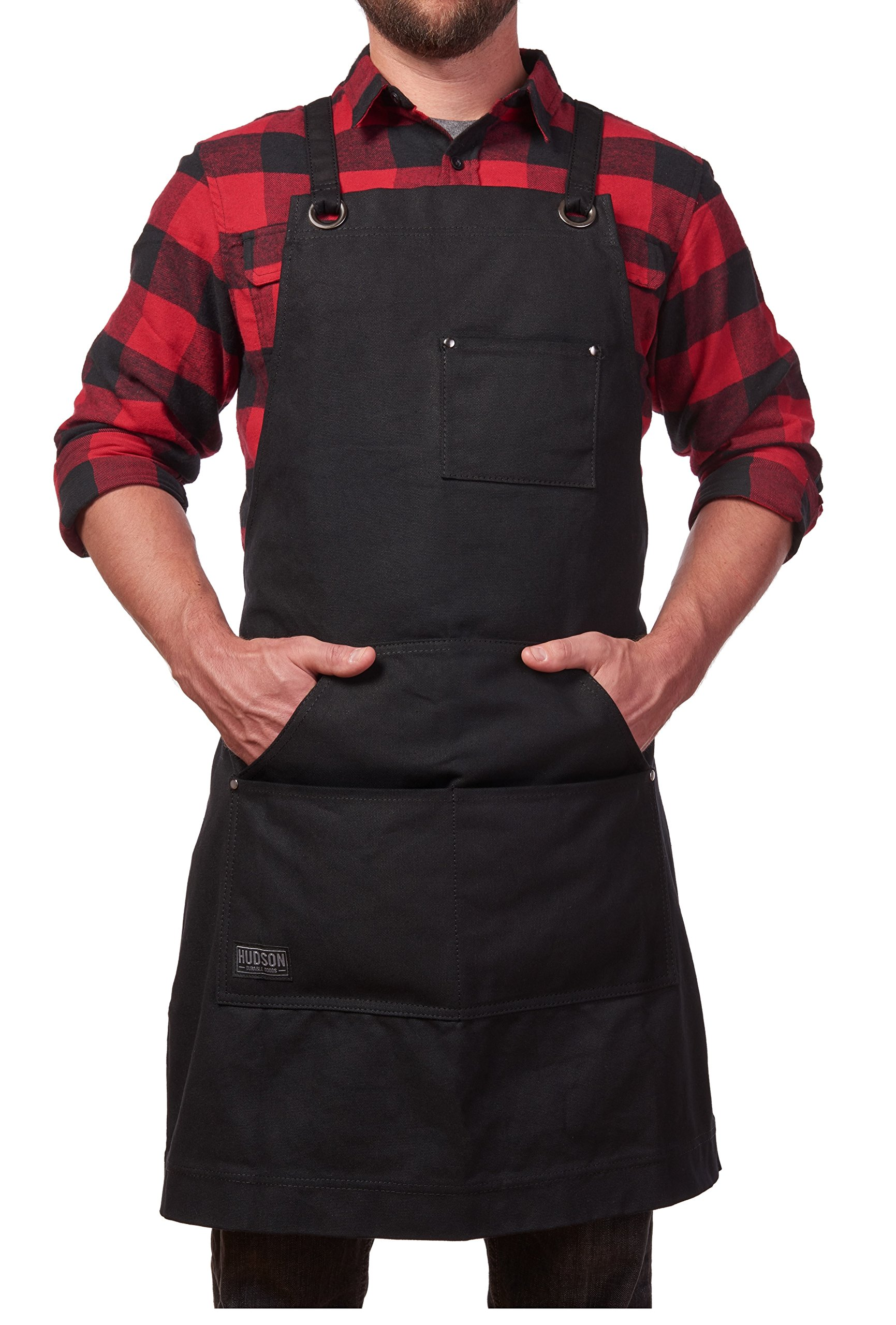 Hudson Durable Goods - Heavy Duty Waxed Canvas Work Apron with Tool Pockets (Black), Cross-Back Straps & Adjustable M to XXL by Hudson Durable Goods