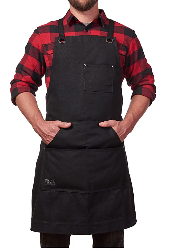 Hudson Durable Goods   Heavy Duty Waxed Canvas Work Apron With Tool Pockets (Black), Cross Back Straps & Adjustable M To Xxl by Hudson Durable Goods