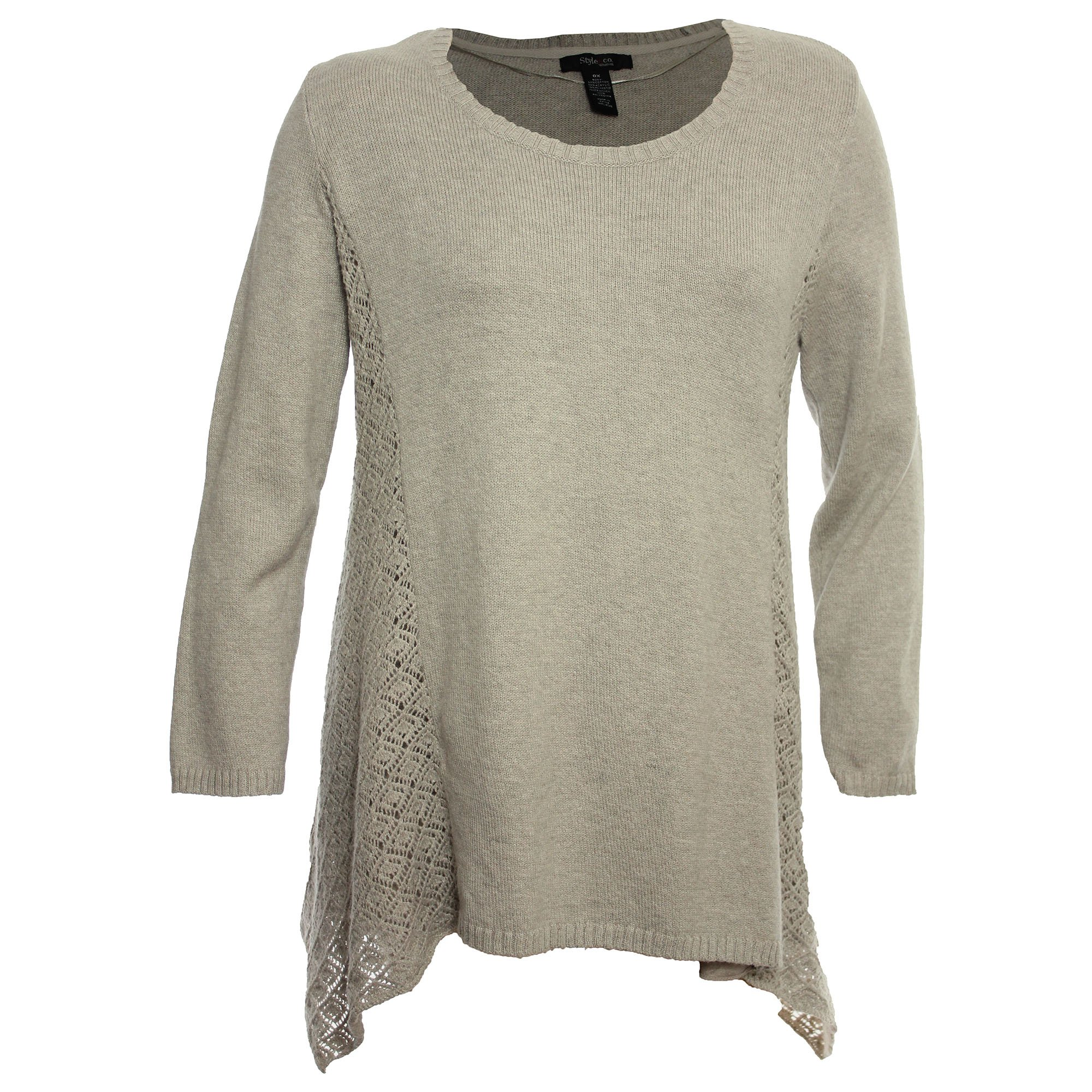 Style & Co.. Womens Plus Pointelle Asymmetric Pullover Sweater Beige 1X