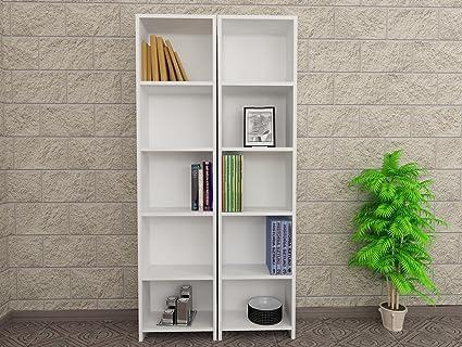 LaModaHome Bookshelf 307quot X 63quot 79quot Wall Mountable Invisible Brackets