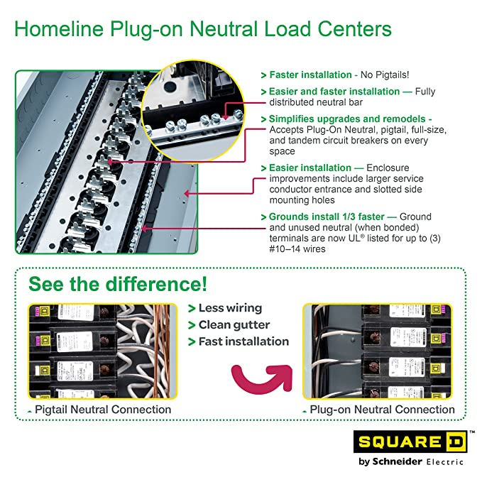 Square d by schneider electric hom1224m125prbvp homeline 125 amp 12 square d by schneider electric hom1224m125prbvp homeline 125 amp 12 space 24 circuit outdoor main breaker load center value pack plug on neutral ready keyboard keysfo Gallery