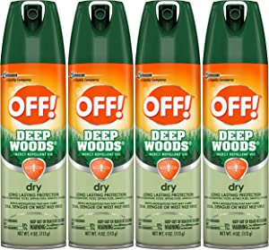 OFF! Deep Woods Insect & Mosquito Repellent VIII, DryTouch Technology, Long Lasting Protection 4 oz. (Pack of 4)