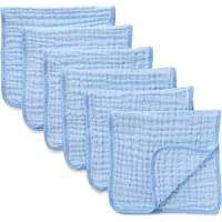 Muslin Burp Cloths 6 Pack Large 100% Cotton Hand Washcloths 6 Layers Extra Absorbent and Soft (Blue)