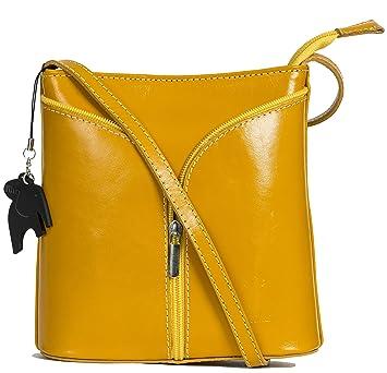 LiaTalia Italian Leather Zips Detail Mini Cross-Body Shoulder Handbag Alice