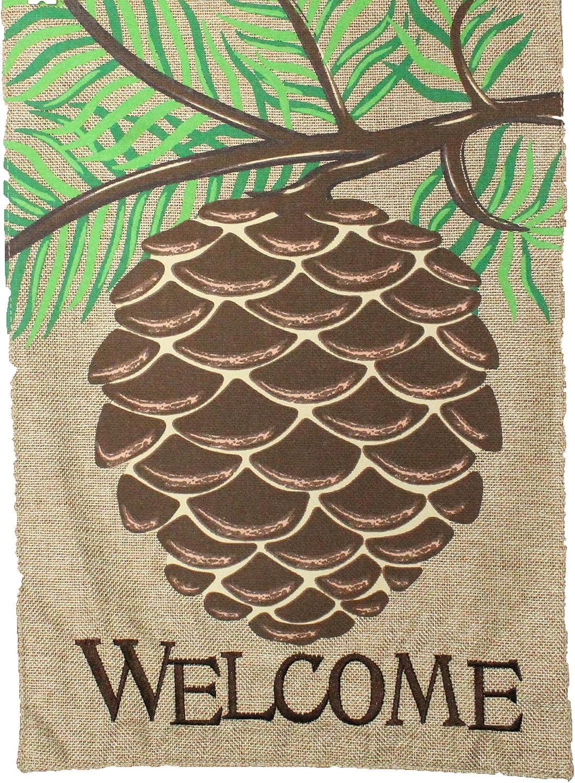 JEC Welcome Garden Flag - Pine Cone Garden Flag - 12x18 Burlap Home Garden Flag, Double Sided Garden Flag