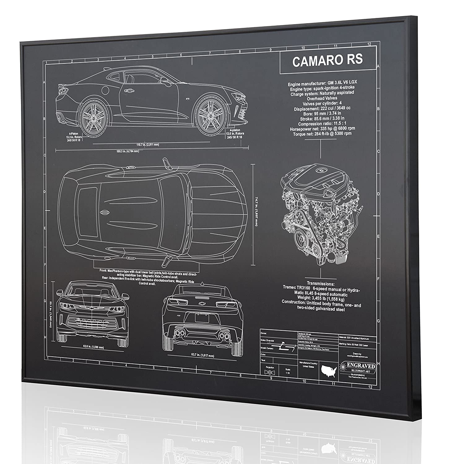 Amazon.com: Chevrolet Camaro RS 6th Generation Blueprint Artwork-Laser  Marked & Personalized-The Perfect Camaro Gifts: Handmade