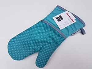 KitchenAid Cotton Oven Mitt, Microfiber Lined, Printed Grid Silicone Grips (Aqua)