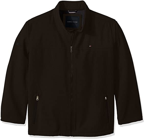 796a0d33 Tommy Hilfiger Men's Soft-Shell Classic Zip-Front Jacket with Tonal Hilfiger  Logo at Back Neck, Black, 3X Big: Amazon.in: Clothing & Accessories