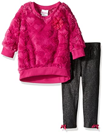 da0d19dd9fc1 Amazon.com  Nannette Baby Girls  2 Piece Embsosed Faux Fur Top and ...