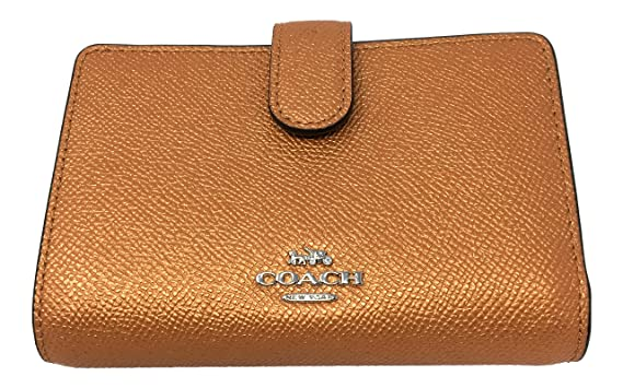 f0c838b747d93 Image Unavailable. Image not available for. Color  Coach Crossgrain Leather Medium  Corner Zip Wallet F23256 Tangerine