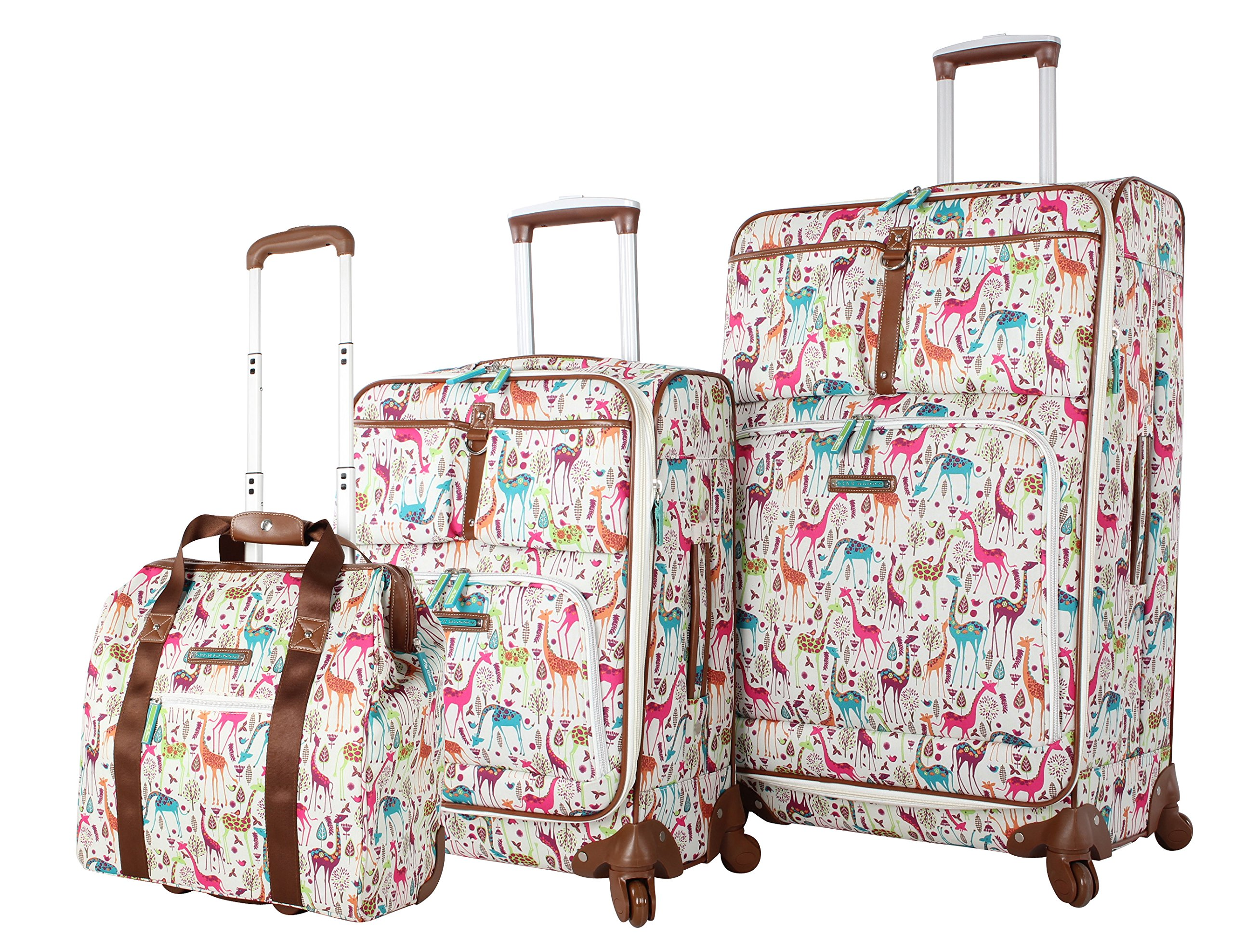 Lily Bloom Luggage 3 Piece Softside Spinner Suitcase Set Collection (Giraffe Park)