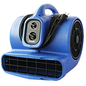 XPOWER X-430TF 1/3 HP Cool Air Mover, Carpet Dryer, Floor Fan, Utility Blower - with 3-Hour Timer and Filter Kit- Blue