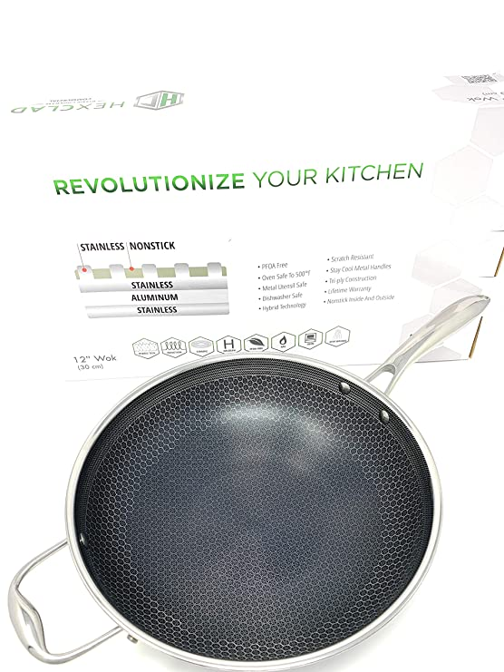 Amazon.com: HexClad 12 Inch Wok, Hybrid Stainless/Nonstick Inside and Outside Cookware, Commercial: Kitchen & Dining