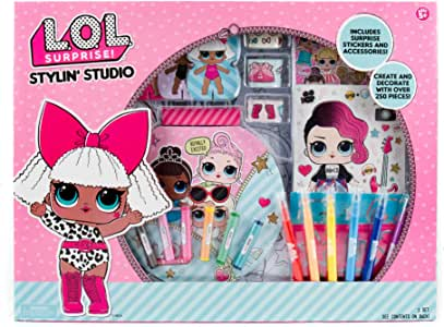 L.O.L. Surprise! Stylin' Studio by Horizon Group Usa, Decorate & Personalize LOL Surprise Paper Dolls, Includes DIY Activity Books, Scratch Art, Sticker Sheet, Coloring Pages, Markers, Crayons & More