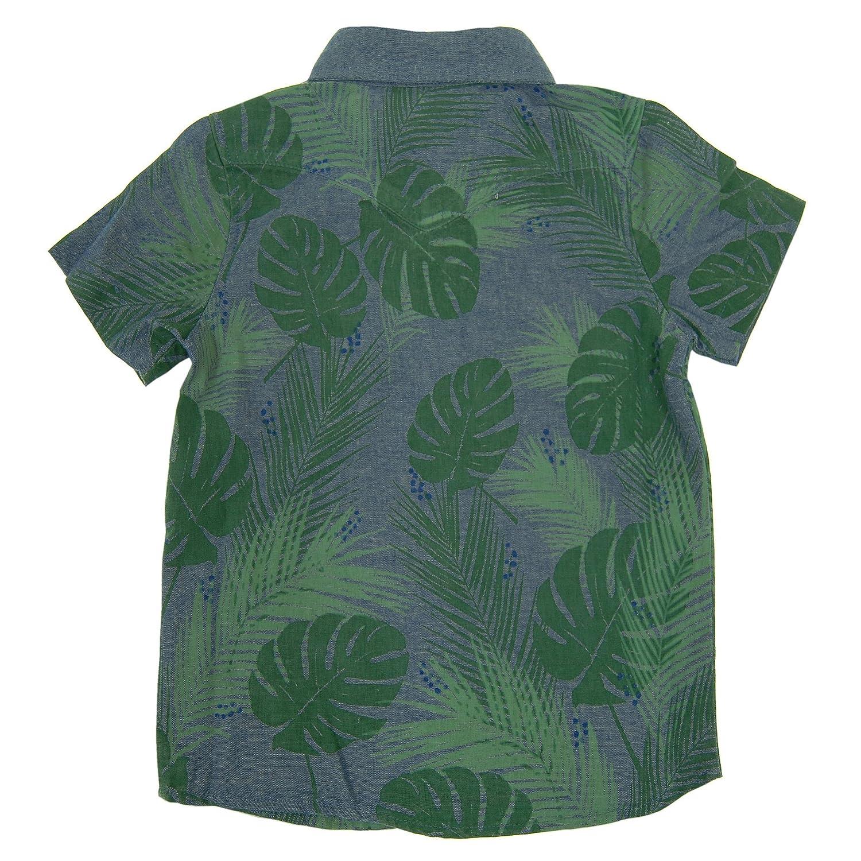 Mini Shatsu Baby Boys Tropical Forest Bow Tie Button Down Shirt