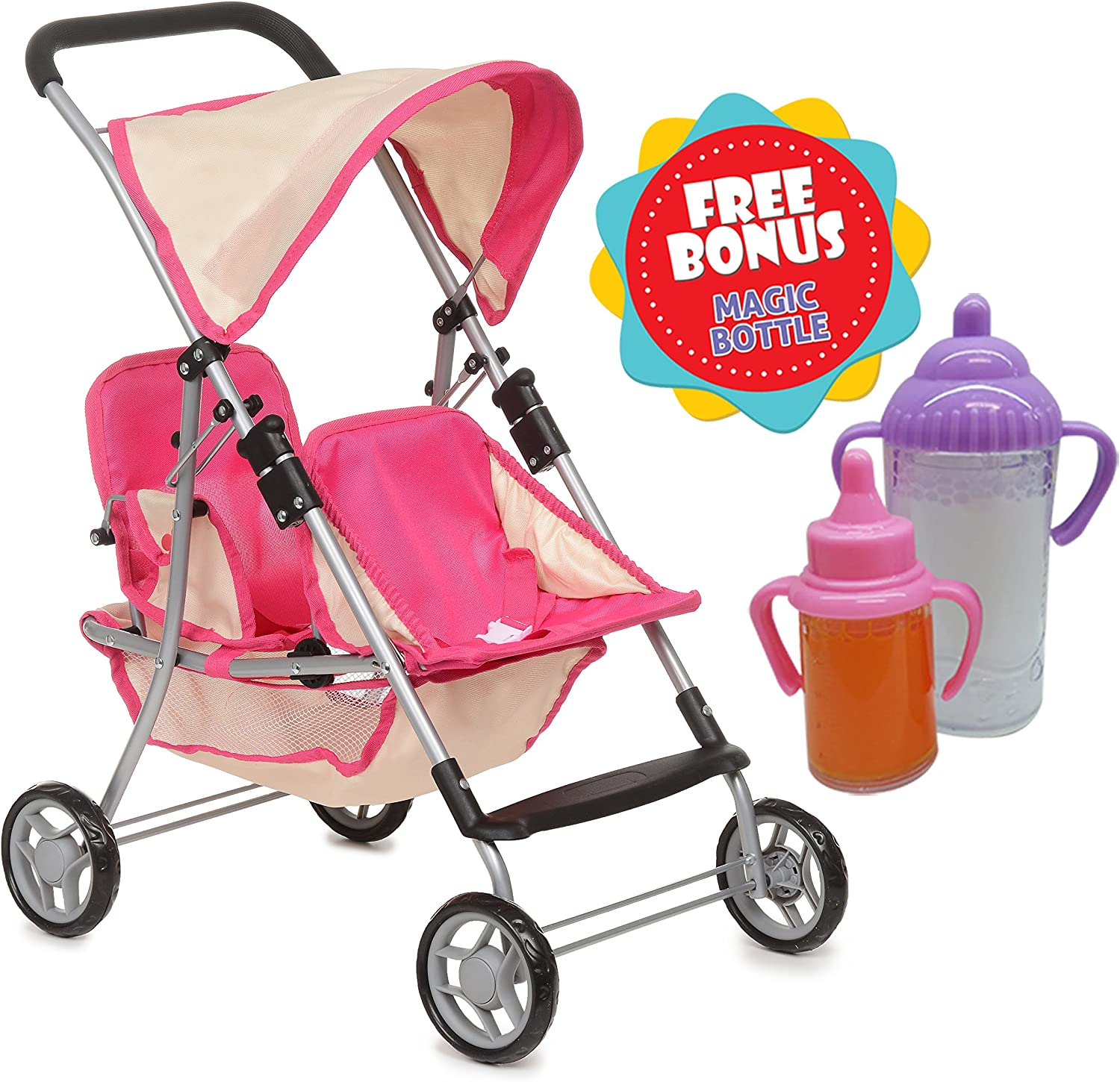 Exquisite Buggy, Twin Doll Stroller with 2 Free Magic Bottles (Pink)