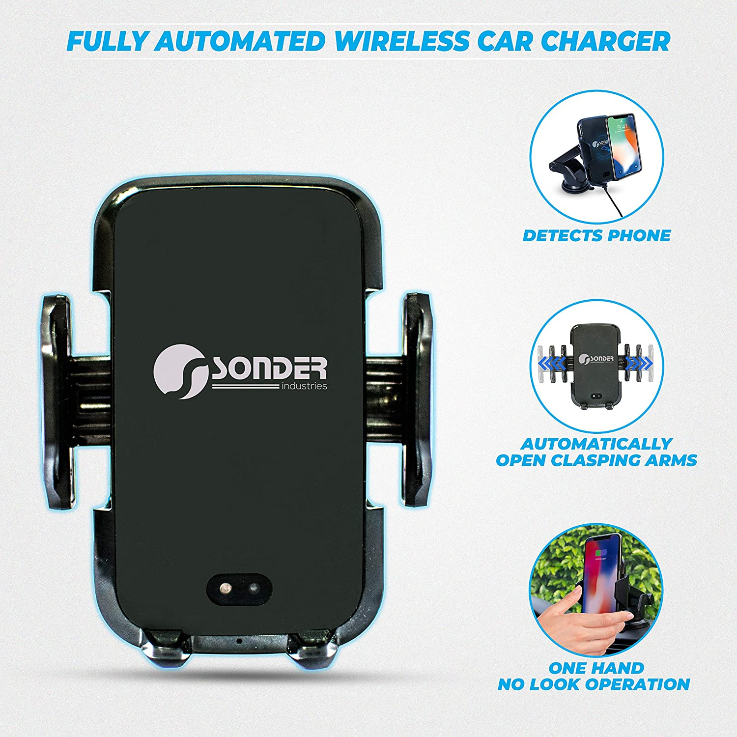 Windshield Dashboard Qi Fast Charging Phone Holder Samsung Note 10//S10 iPhone 11 Pro//11//XS//XR Google Pixel Infrared Sensor Auto-Clamp Sonder Wireless Car Charger Mount Air Vent Compatible
