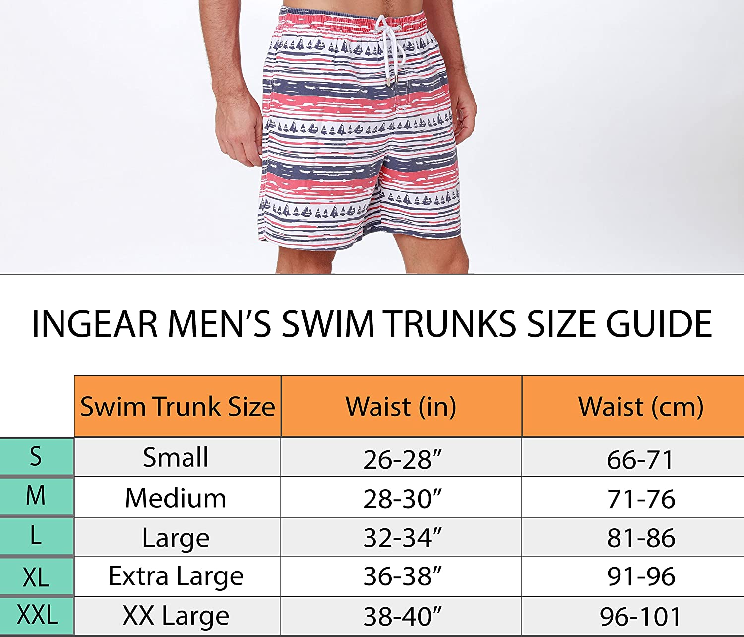 ee2285804d7 INGEAR Performance Men s Quick Dry SPF50+ Swim Trunks Water Shorts Swimsuit  Beach Shorts with Mesh Lining