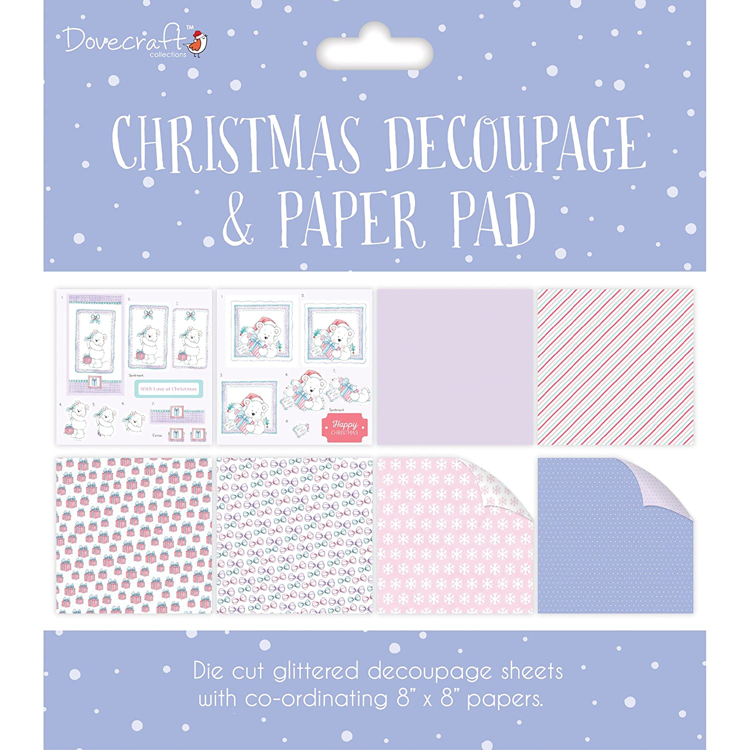 red Dovecraft Christmas FSC 8 x 8 Decoupage and Paper Pad Christmas Scenes