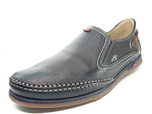 Zapato Piel Fluchos En Marino Hombre Casual Elasticos Laterales Azul R34AjLq5