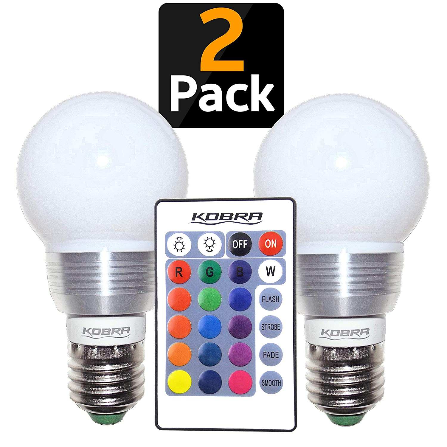 KOBRA LED Bulb color Changing Light Bulb with Remote Control (2 Pack)16 Different color Choices Smooth Flash or Strobe Mode Premium Quality & Energy Saving Retro LED Lamp