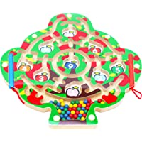 Toys of Wood Oxford Wooden Magnetic Labyrinth for Children Fruit Tree - Magnetic Maze 3 Years Plus