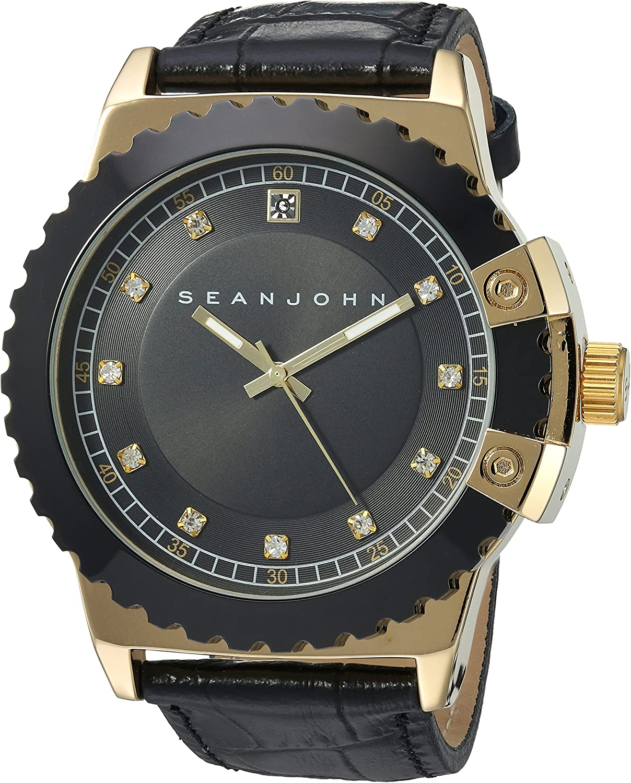 Sean John Male Japanese quartz Metal Synthetic leather watch (Model: 10030887/86)