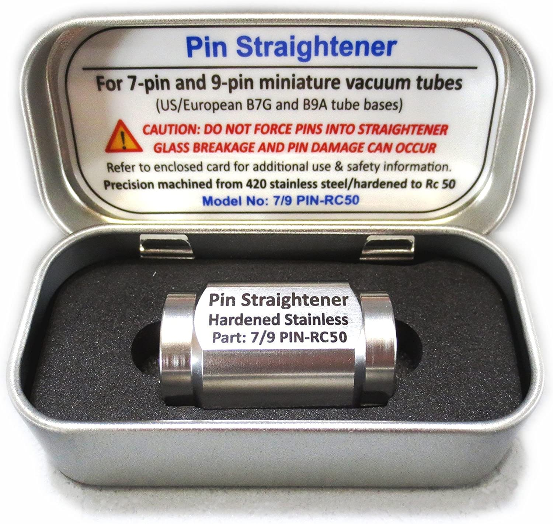 Riverstone Audio - Vacuum Tube Pin Straightener For 9-Pin B9A-base (12AX7 / EL84 / 5670) and 7-Pin B7G-base (5654 / 6AU6 / 6AQ5A) Tubes - Hardened Stainless - Hand Held - Straightens Vacuum Tube Pins