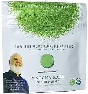 Matcha Kari - Organic Matcha Green Tea Powder - Culinary Grade - Smoothies, Lattes, Baking, Cookies - Chef's Choice