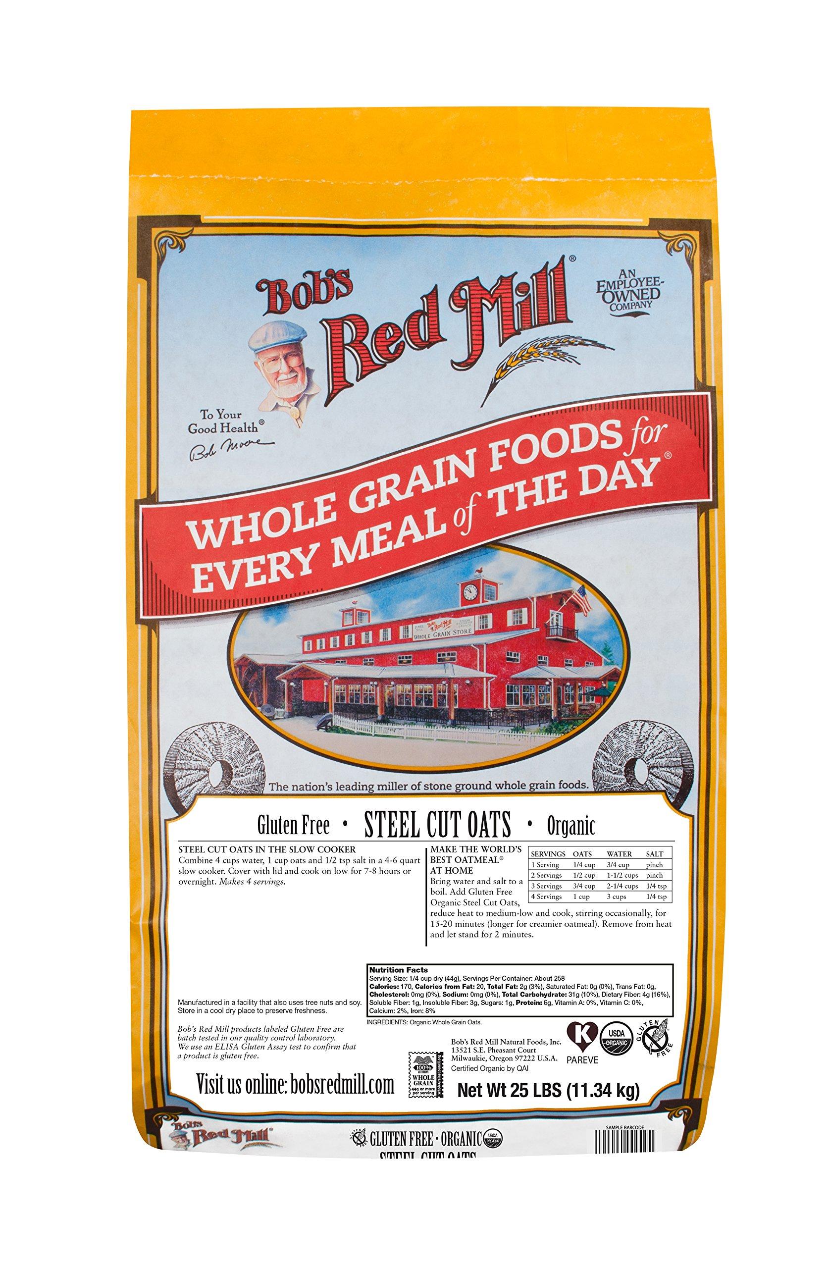 Bob's Red Mill Organic Gluten Free Steel Cut Oats, 25 Pound by Bob's Red Mill