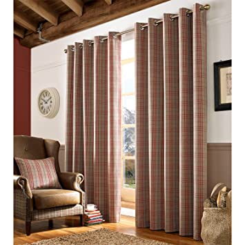 Just Contempo Archie Check Eyelet Lined Curtains, 46 x 54 Inches ...