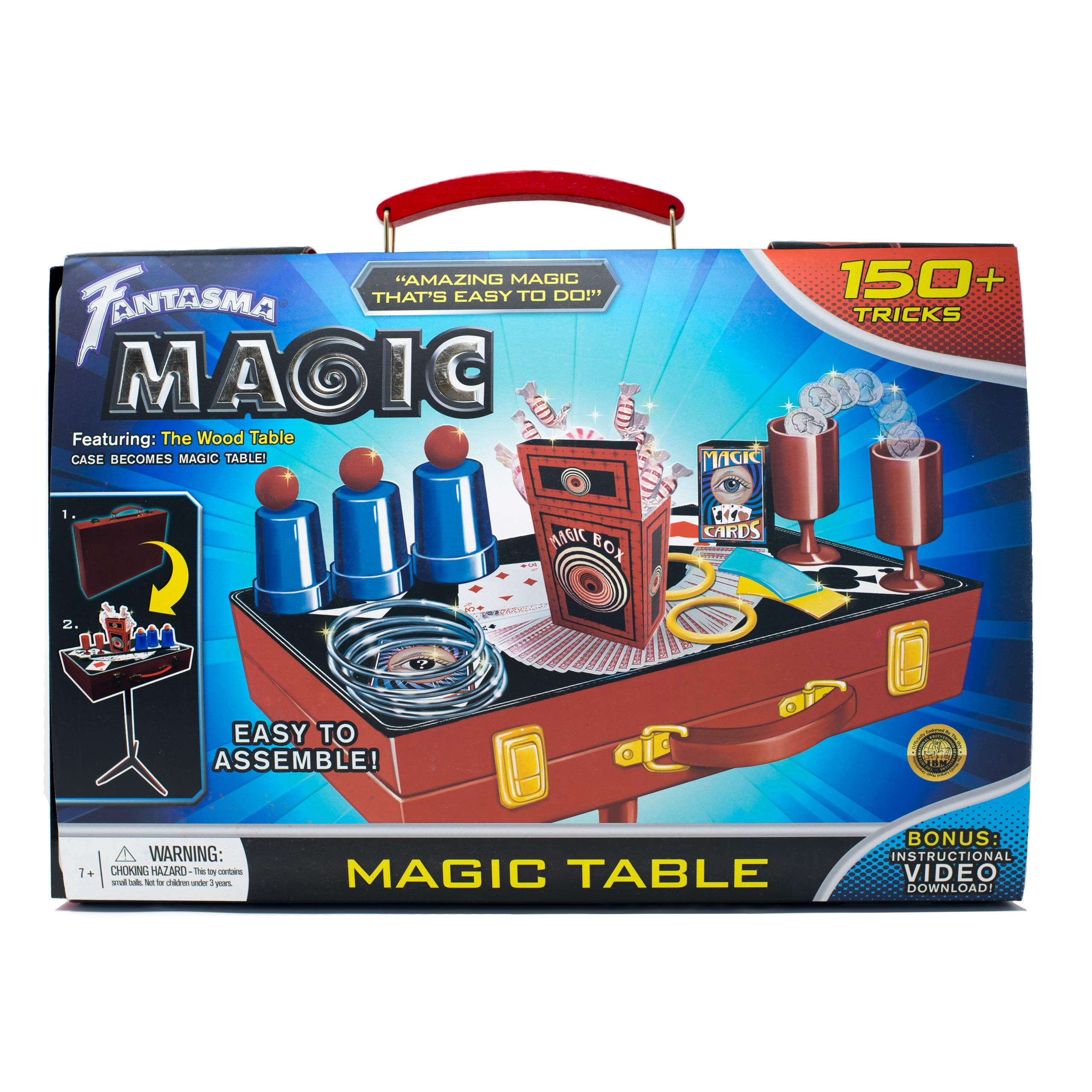 Fantasma Magic Trick Learning Kit for Kids and Adults - Magic Set with Wooden Carrying Case and Magician's Table Combo - Learn 150 Magic Tricks - 7 Years and Older by Fantasma