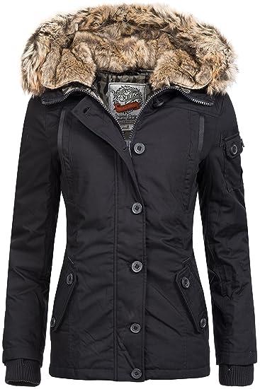 Sublevel Winterjacke | Wintermantel | Daunen Jacke für Damen eleganter Kurz Mantel im schlanken Parka Stil mit Fellkapuze aus Kunstpelz