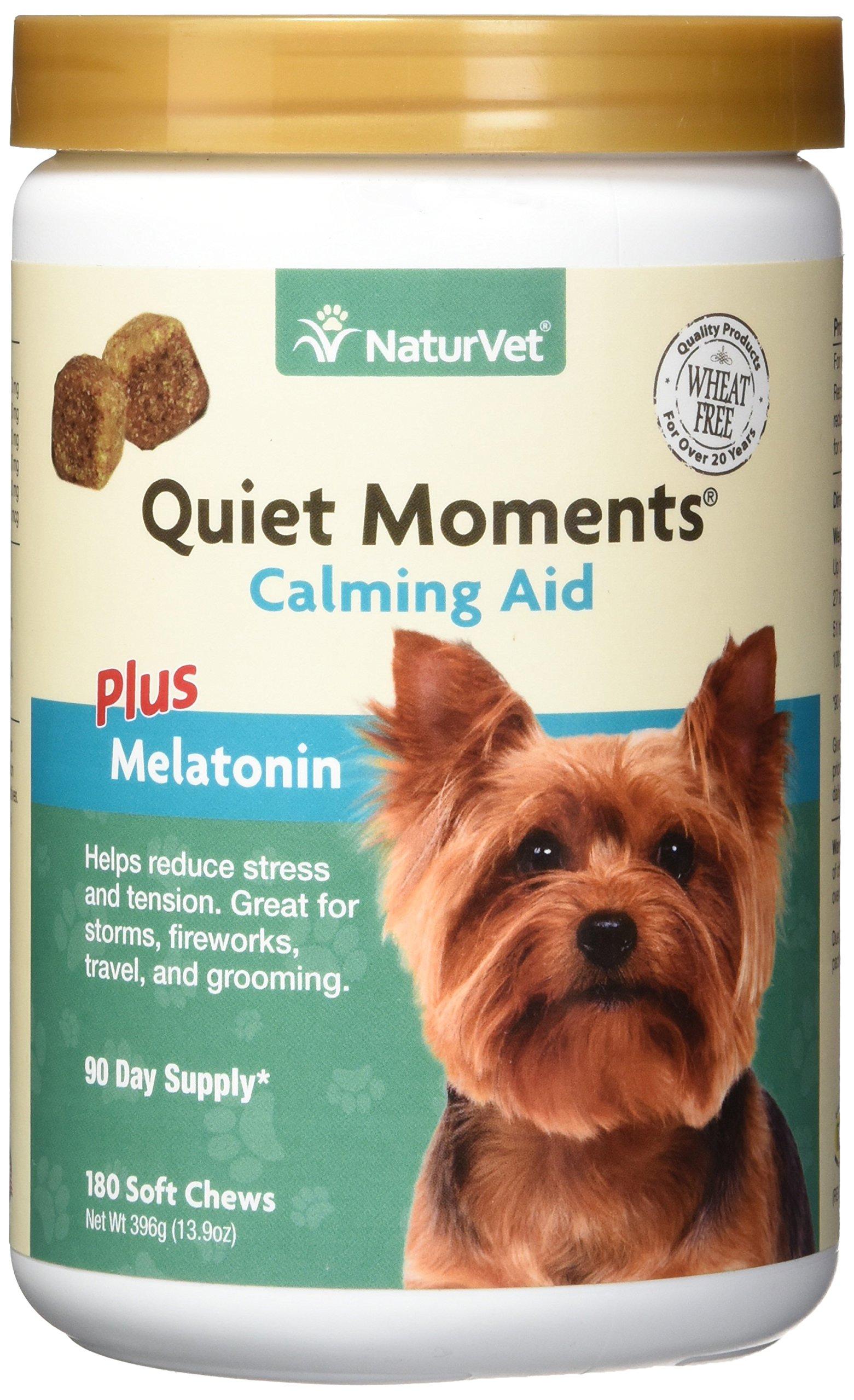 NaturVet Quiet Moments Calming Aid Plus Melatonin 180 Soft Chews 13.9OZ by NaturVet