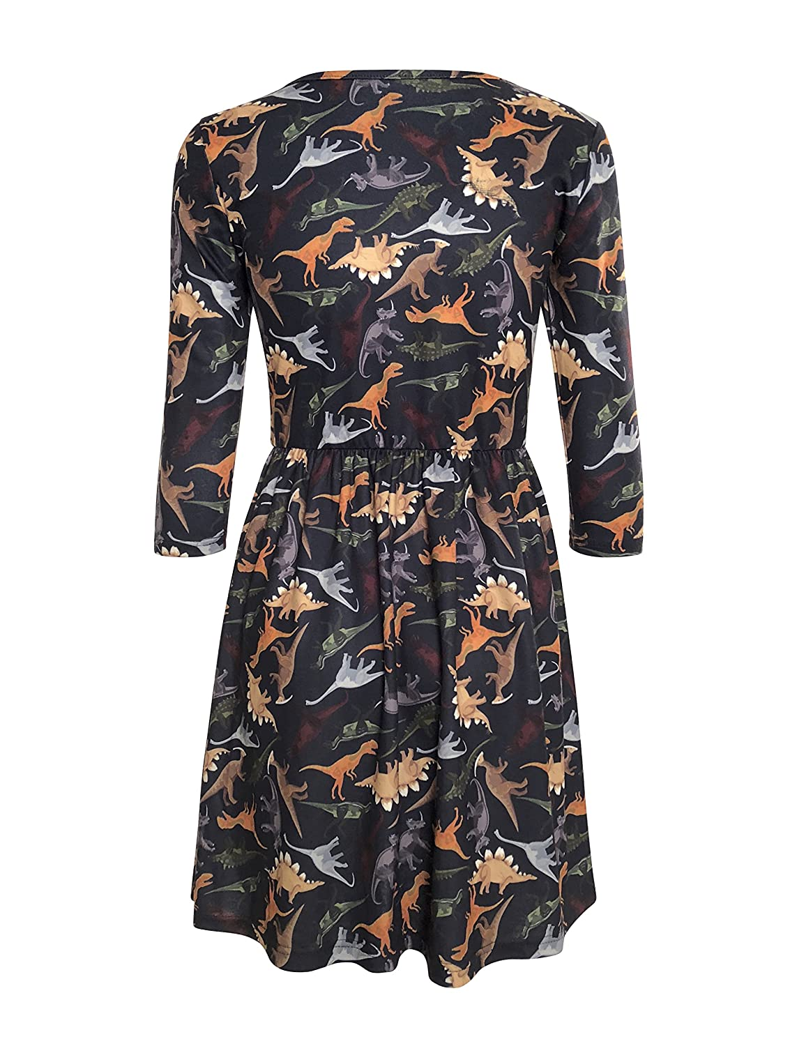 6af8282f85e LaVieLente 3/4 Sleeve High Waist Jersey Fabric Dinosaur Dress with Elastic  Waist at Amazon Women's Clothing store: