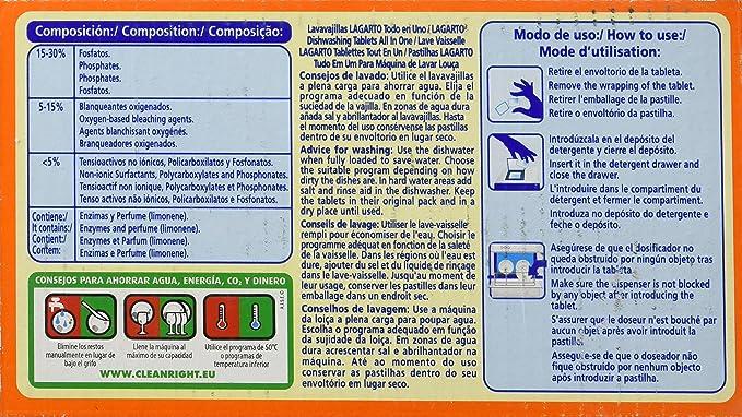 Lavavajillas Lagarto Todo En Uno 40 Pastillas: Amazon.es ...