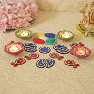 TIED RIBBONS Home Terracotta Diya with Rangoli Powder and Acrylic Rangolli for Home Decor Combo Pack