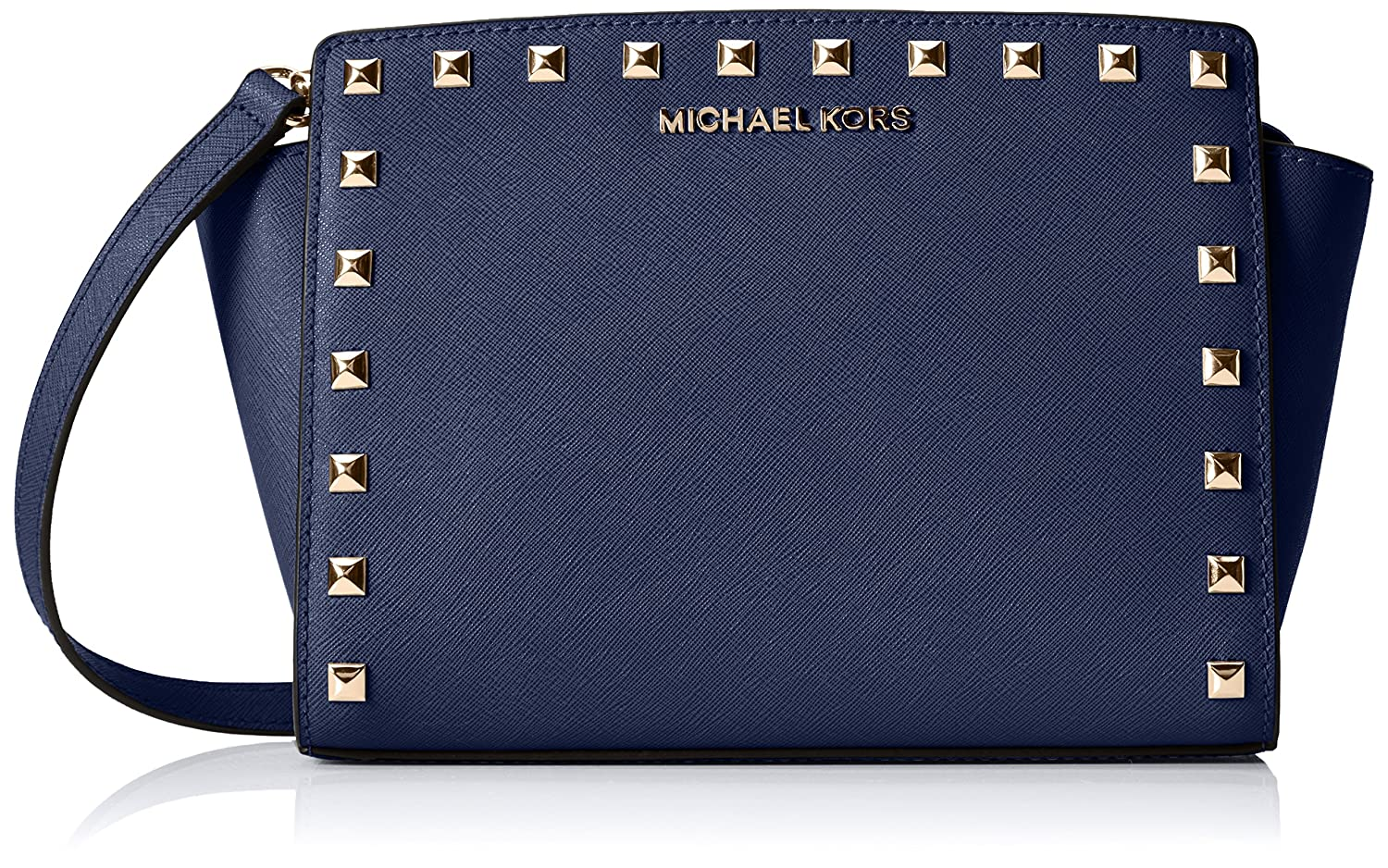 fb305ad865 Amazon.com  MICHAEL Michael Kors Womens Selma Stud Medium Messenger  (Navy Gold)  Shoes