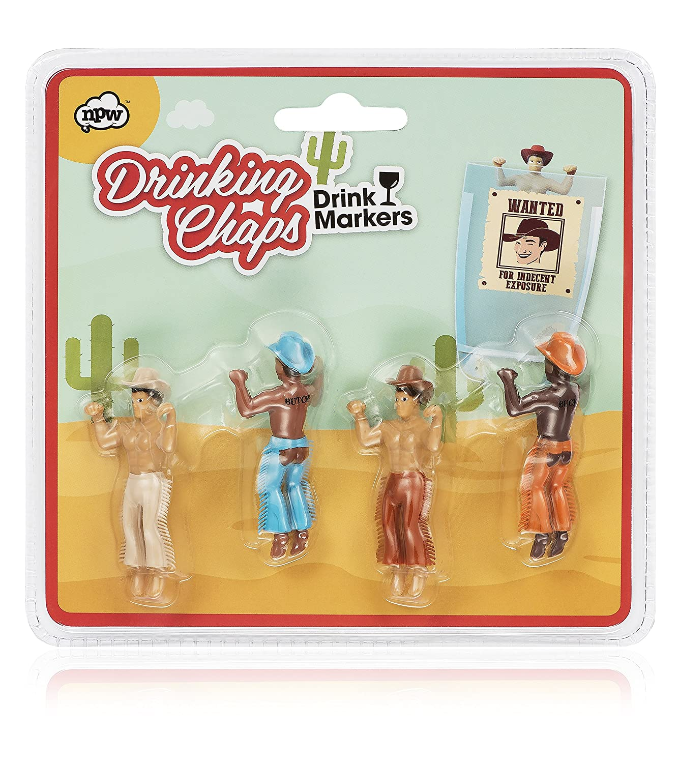 NPW Drinking Buddies Cocktail/Wine Glass Markers, 4-Count, Drinking Chaps Cowboy Buddies NP36046