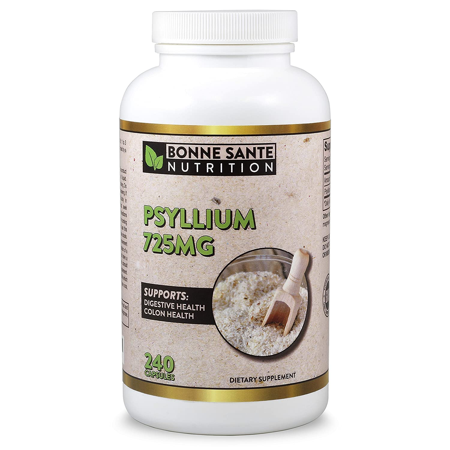 Psyllium Husk by Bonne Sante Nutrition, 240 Psyllium Husk Capsules, 725 mg Per Serving, Supports Healthy Digestive System, All Natural, 100% Soluble Fiber