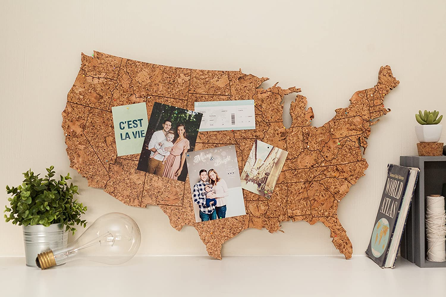 Corkboard Map of US with State Lines Engraved